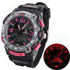 Montre Oreex Brand avec Double-Movtz Red LED Round Dial et Rubber Band - PLUME