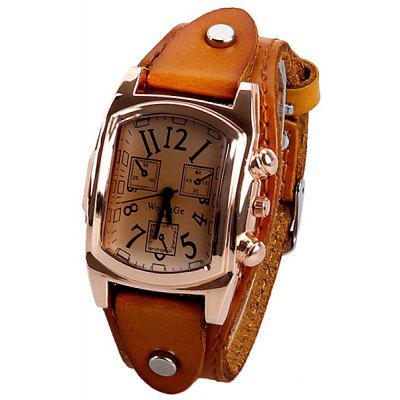 WoMaGe Brand Watch with Three Small Decorating Hands Rectangle Dial and Leather Band