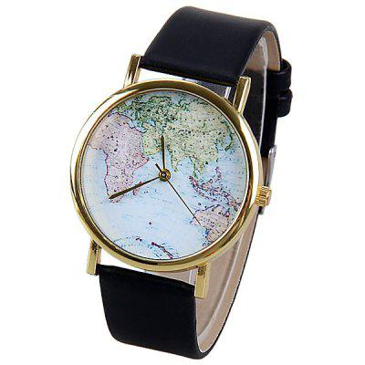 Unique Watch with Map Patterned and Leather Band