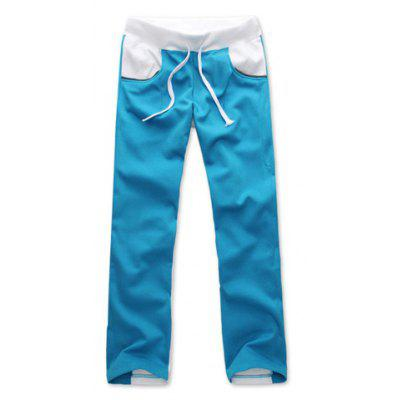 Stylish Personalized Color Block Drawstring Design Slimming Men's Polyester Harem Pants