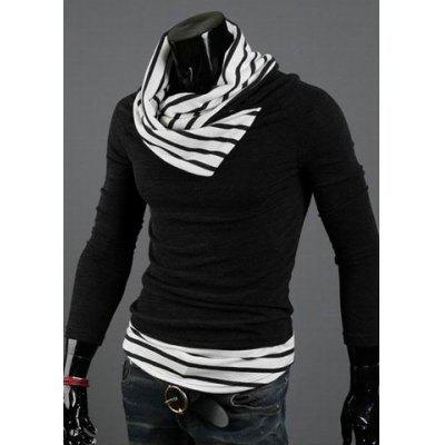 Casual Special High Collar Pullover Stripe Long Sleeve Cotton Blend Sweater