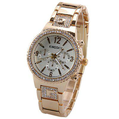 Diamonds Women Quartz Watch with 4 Arabic Numbers and Trapezoid Hous Mark Stainless Steel Watchband