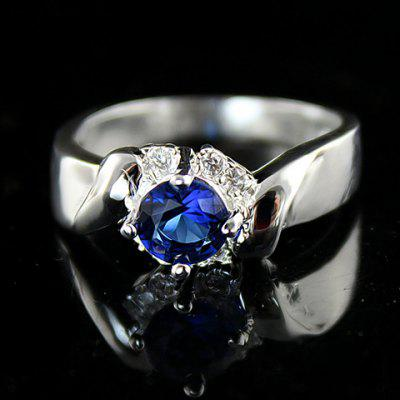 Vintage Blue Faux Crystal Embellished Alloy Ring For Women