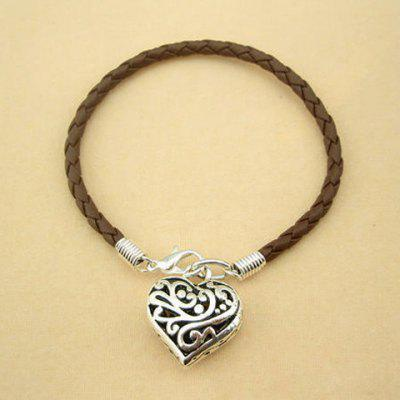 Hollow Heart Pendant Faux Leather Charm Bracelet