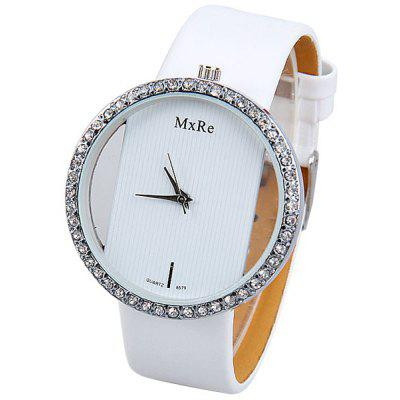 Hollow out Watch with Diamonds Design and Leather Band for Women