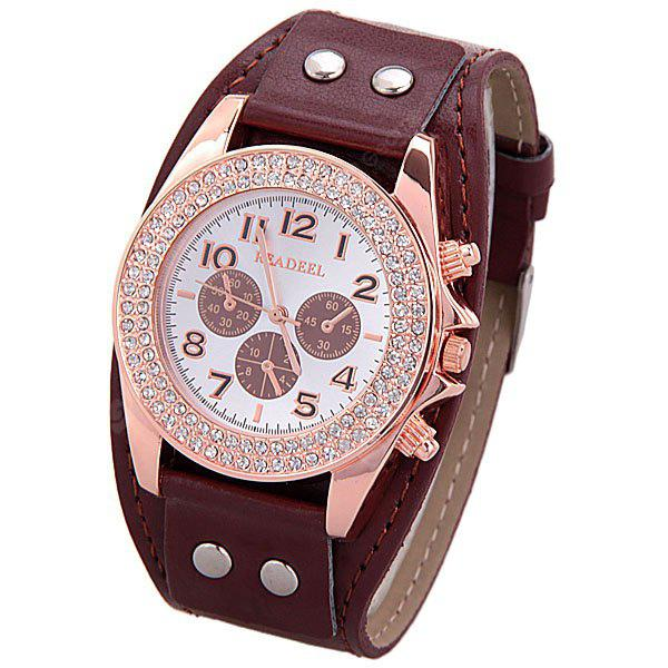 Diamonds Quartz Watch with 9 Arabic Numbers and 3 Strips Hour Marks Leather Watchband for Women
