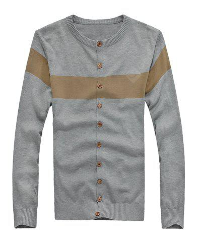 Buy Stylish Round Neck Color Block Single Breasted Long Sleeves Men's Cotton Blend Cardigan M GRAY