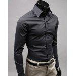 Basic Lapel Solid Color Long Sleeve Cotton Blend Men's Dress Shirt - BLACK