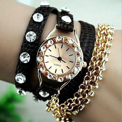Retro and Fashion Women Watch with Winding Bracelet Design Diamonds Style Leather and Stainless Steel Watchband