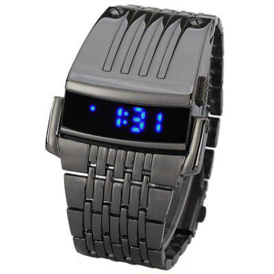 Cool Wide Watch with Blue LED Digital Display and Stainless Steel Watchband for Men