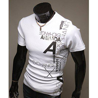 Slimming Trendy Round Neck Letter Print Short Sleeve Polyester T-shirt For Men
