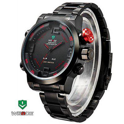 WEIDE WH2309B Male Military Sports Quartz Watch 3AMT Water Resistant Double Movts Analog Digital LED Alarm Wristwatch