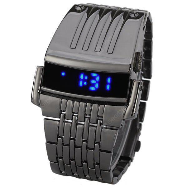 Cool Wide Watch con pantalla LED azul LED y correa de acero inoxidable para hombres