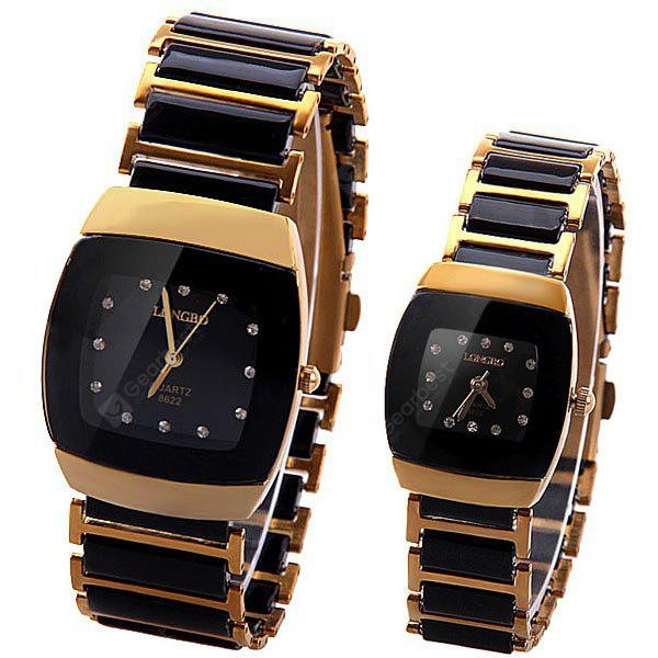Quartz Watch for Couple with 12 Diamonds Hour Marks Ceramics and Steel Watchband