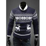 Fashion Scoop Neck Pullover Christmas Deer Printed Long Sleeve Cotton Blend Men's Sweater - NAVY