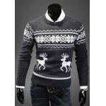 Fashion Scoop Neck Pullover Christmas Deer Printed Long Sleeve Cotton Blend Men's Sweater - DEEP GRAY
