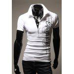 Slimming Trendy Turndown Collar Letter Print Short Sleeve Polyester Polo Shirt For Men - WHITE
