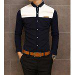 Buy Slimming Trendy Shirt Collar Color Block Splicing Labeling Long Sleeve Cotton Men M NAVY