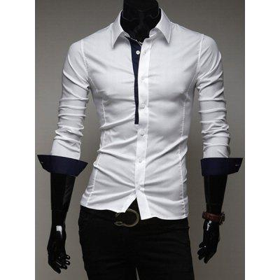 Fitted Shirt Collar Chic Color Splicing Long Sleeves Polyester Shirt