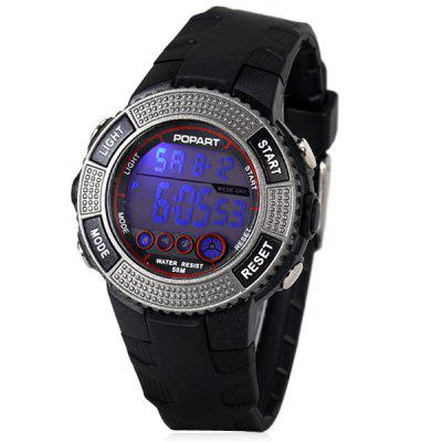 Stylish Design LED Watch with Day/Date Round Dial and Rubber Band
