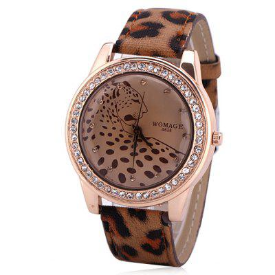 Stylish Women Watch Analog with Diamonds Leopard Round Dial Leather Watch Band