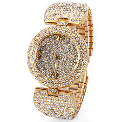 Stylish Women Watch Analog with Diamonds Round Dial Steel Watch Band