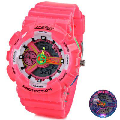 Unique Design 7 - color LED Watch with Double - movt Two Needles Round Dial and Rubber Band