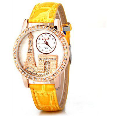 Stylish Women Watch Analog with Tower Diamonds Round Dial PU Leather Watch Band