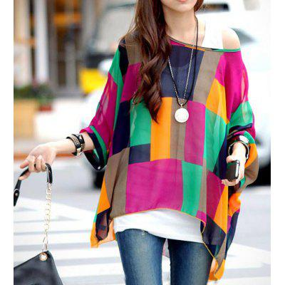 Stylish Scoop Neck Batwing Sleeve Color Block Chiffon Blouse For Women