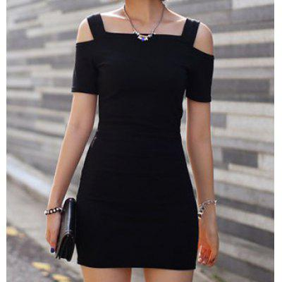 Alluring Straps Off-The-Shoulder Short Sleeves Black Women's Bodycon Dress