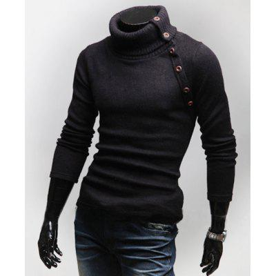 Korean Style Turtleneck Multi-button Long Sleeves Wool Blend Sweater For Men