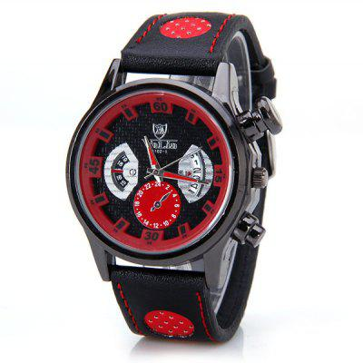 Unique Men Watch Analog with Round Dial Leather Watch Band