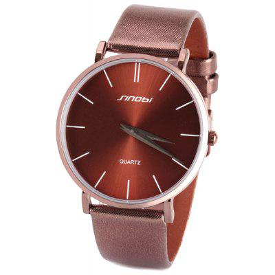 Sinobi Stylish Men Watch Analog with Japan Movt Two Needles Round Dial Leather Watch Band
