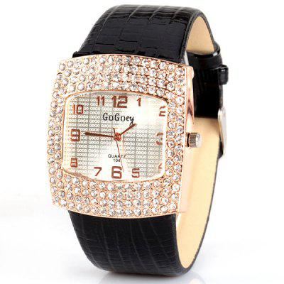 Fashion Women Watch Analog with Diamonds Rectangle Dial Leather Watch Band
