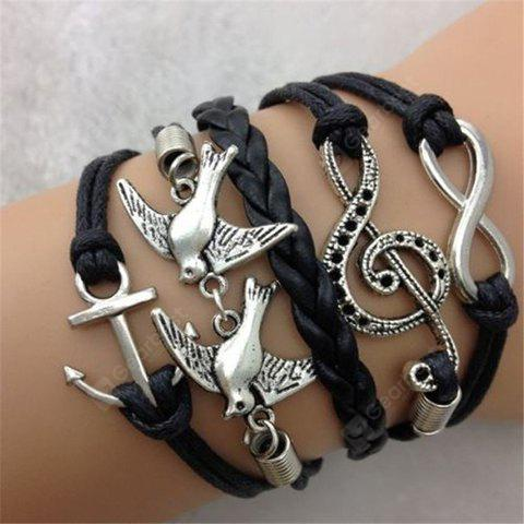Pigeon Note Anchor Infinity Layered Bracelet