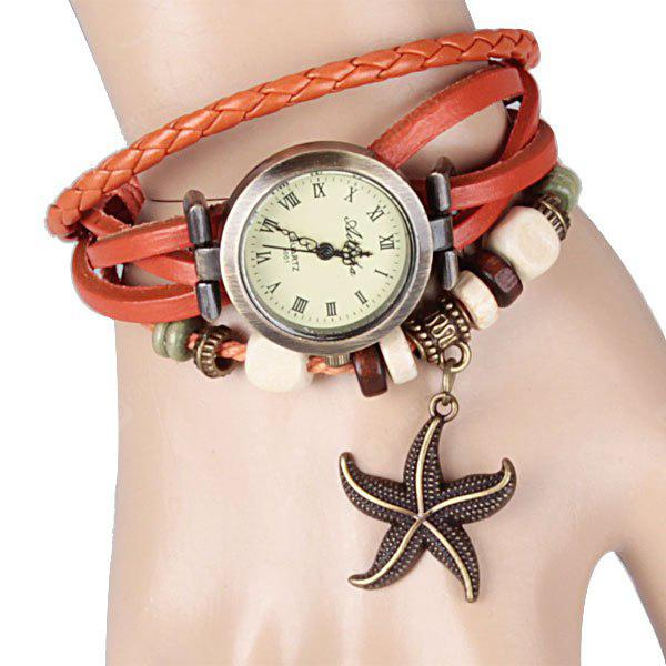 Assista com Starfish Pendant Round Dial Leather Band for Women