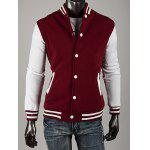 Casual Style Stand Collar Single Breasted Color Block Long Sleeves Polyester Sweatshirt For Men - WINE RED