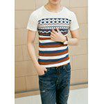 Slimming Trendy Round Neck Stripe Geometric Print Short Sleeve Cotton Blend T-shirt For Men - WHITE