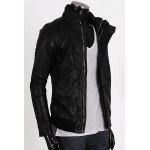 Korean Style Stand Collar Rib Splicing Long Sleeves PU Leather Jacket For Men - BLACK