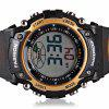 Cool Waterproof Design LED Watch with Day/Date Round Dial and Rubber Band - GOLDEN