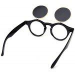 Fashion Punk Style Two Layer Flip Lens Sunglasses with Black Plastic Frame for Women - BLACK