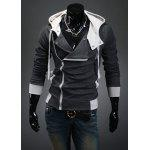 Street Style Side Zipper Studs Long Sleeves Men's  Polyester Hoodies - DEEP GRAY