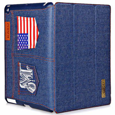 KAKU Stylish Stripes and Stars Flag Jeans Style PU + PC Stand Case for iPad 2 / 3 / 4
