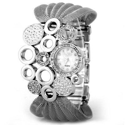 Fashion Design Watch with Diamonds and Loops Steel Mesh Strap for Women