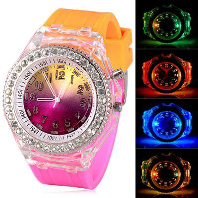 Superb Diamonds Design LED Watch with Round Dial and Silicone Band