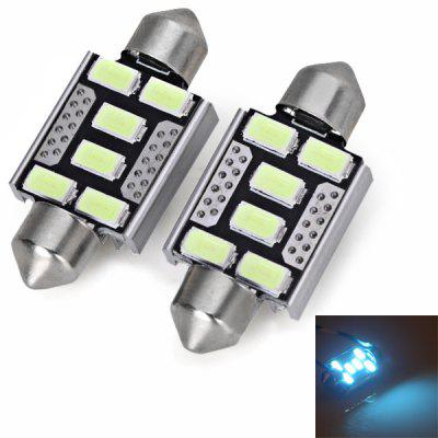 Double Tips Aluminum Shell 36MM SMD 5730 6 - LED Ice Blue Light Car Interior Festoon Interior Light Bulb Reading Lamp