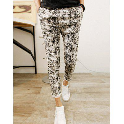Stylish Drawstring Design Floral Print Cotton Nine Minutes Harem Pants For Men