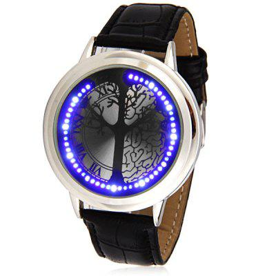 Superb Touch Control Design LED Wrist Watch with Tree Pattern Round Dial and Leather Band