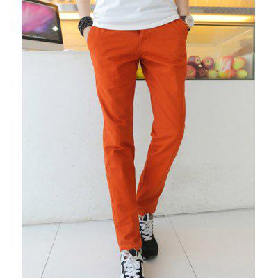 Slimming Trendy Solid Color Button Fly Straight Leg Cotton Nine Minutes of Pants For Men