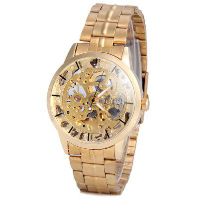 Unique Waterproof Men Mechanical Gold Watch with Analog Round Dial Steel Watchband